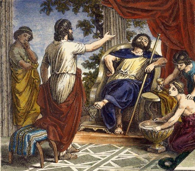Platon bei Dionys / aus Göll - Plato and Dionysius / Engraving -